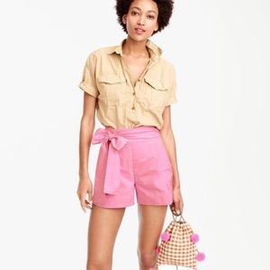 J. Crew tie waist shorts in pink cotton poplin